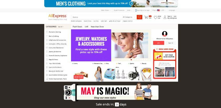 Screenshot of Alibaba and AliExpress websites