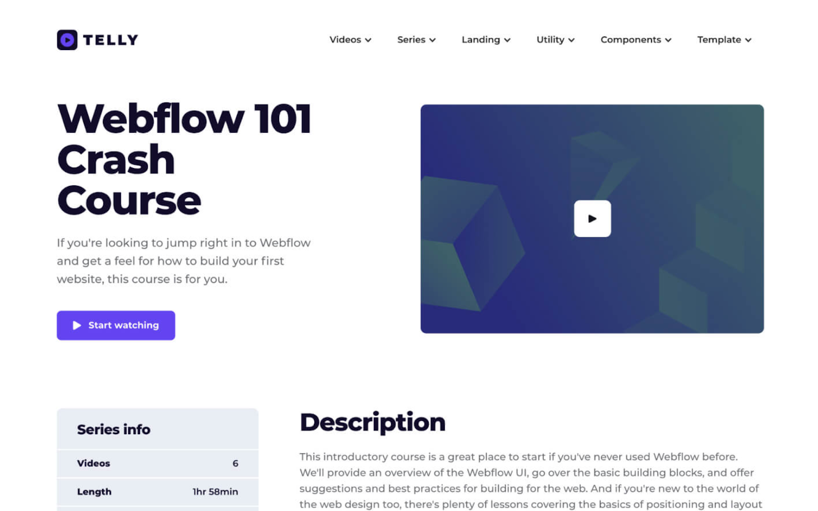 Webflow Online course template