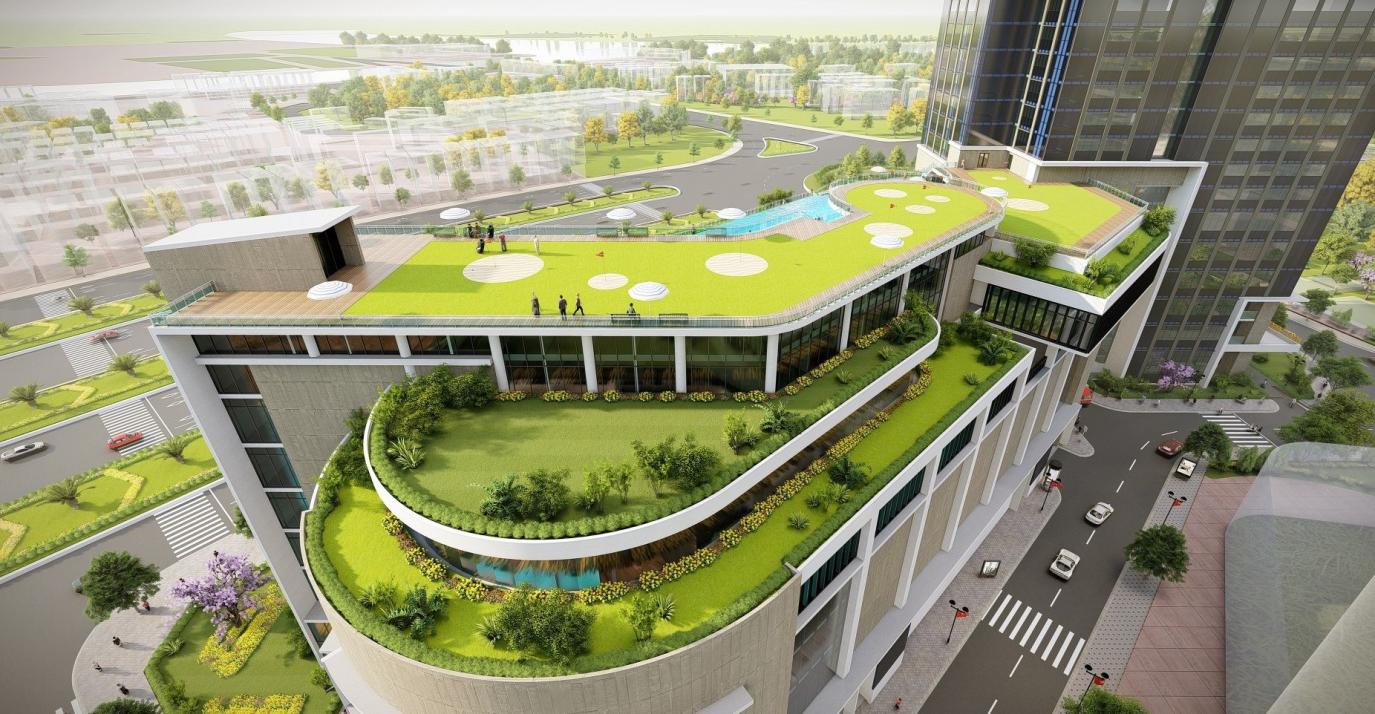 Trung tâm thương mại 6 tầng tích hợp tiện ích nghỉ dưỡng sân thượng