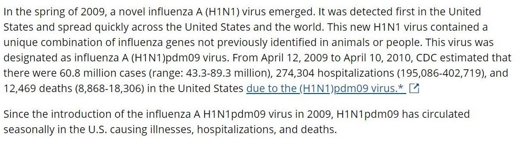 Influenssa pandemia 2009-2010, CDC