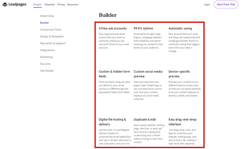 Landing Page Builder: Leadpages features