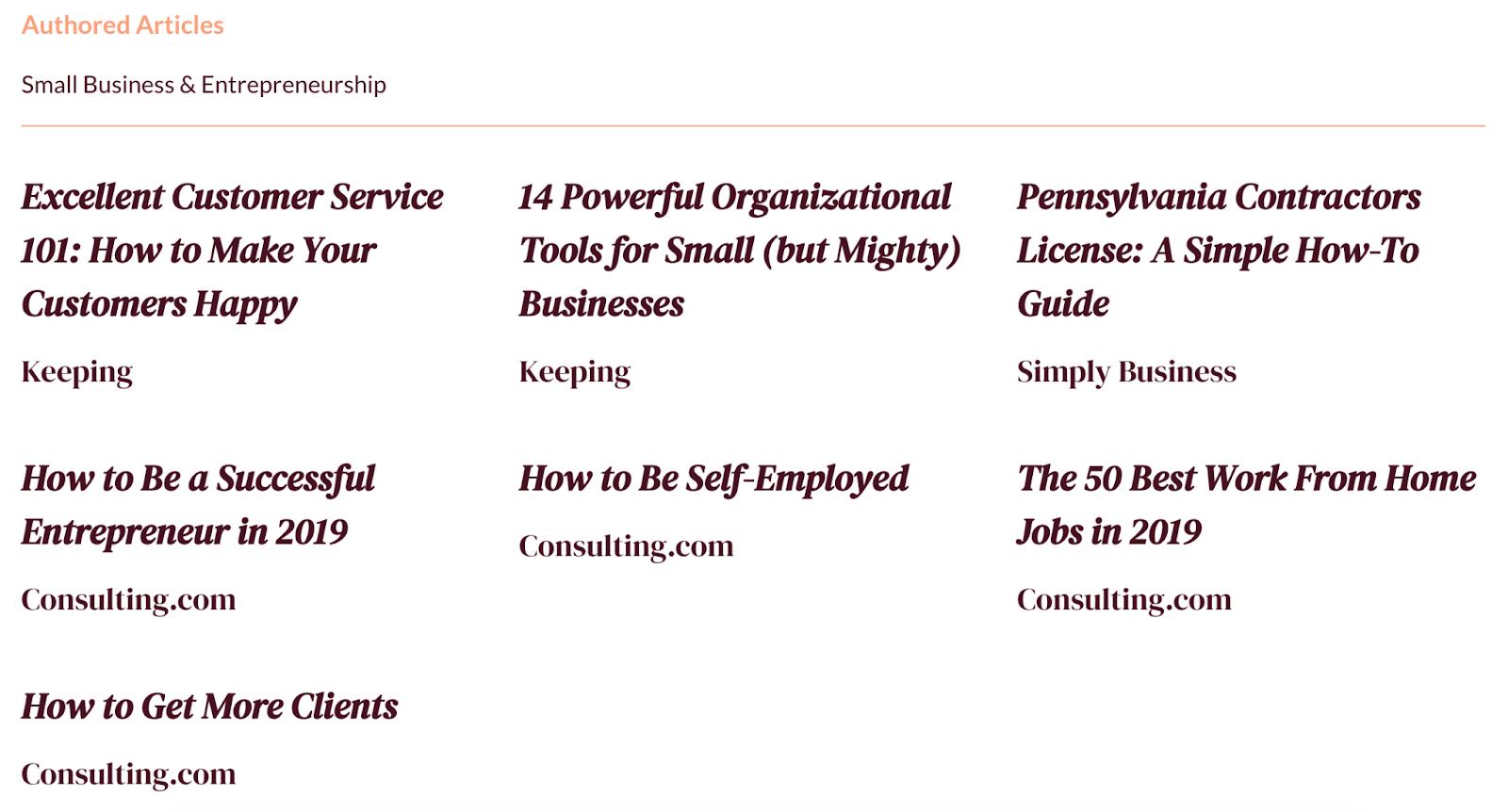 freelance blogger portfolio example