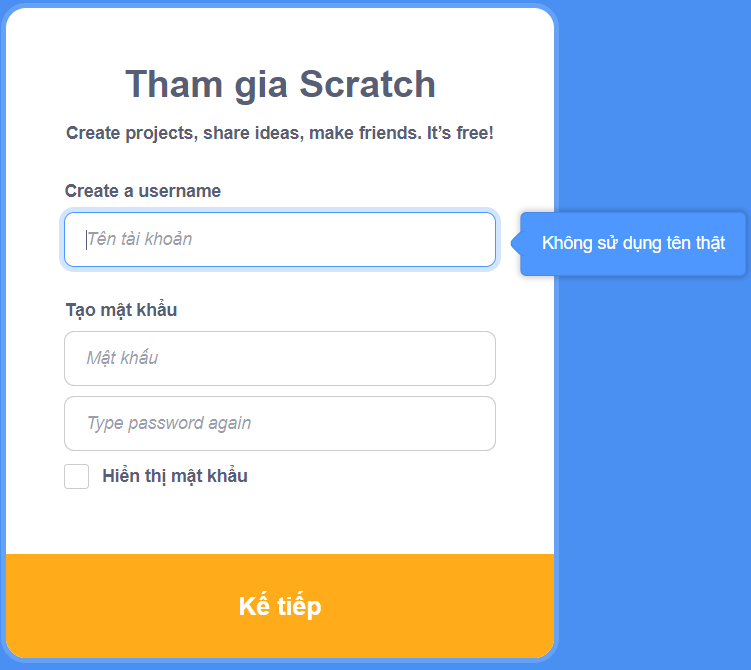 Những lỗi thường gặp khi tạo tài khoản Scratch