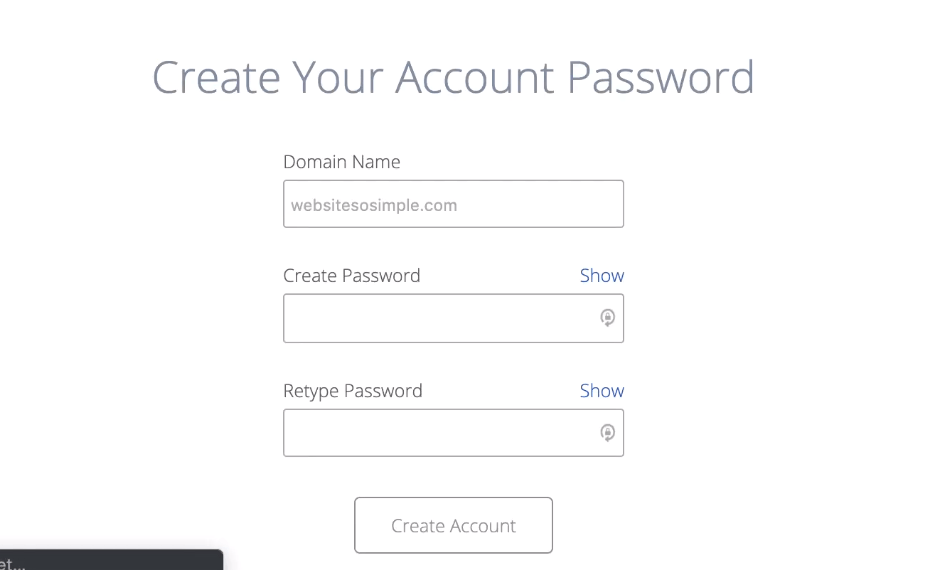 Create a password bluehost new website
