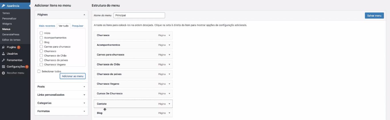 adicionar menu no wordpress