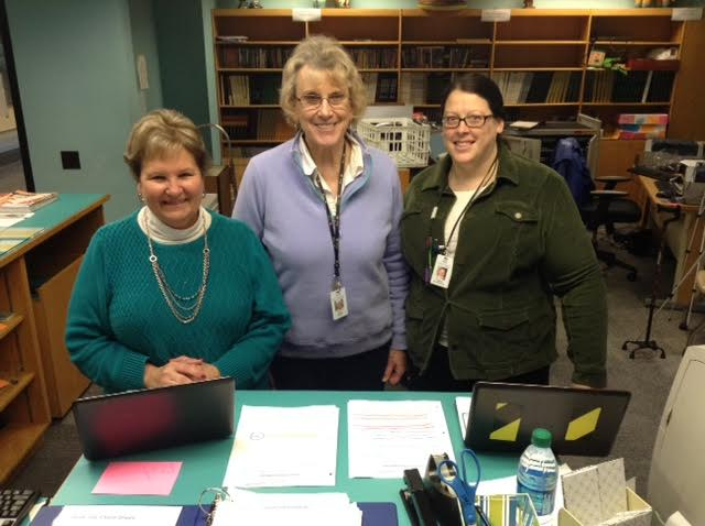 The Penn High School Media Center staff, from left to right, Carol Whittaker, Mila Pierce, and Caelea Armstrong.