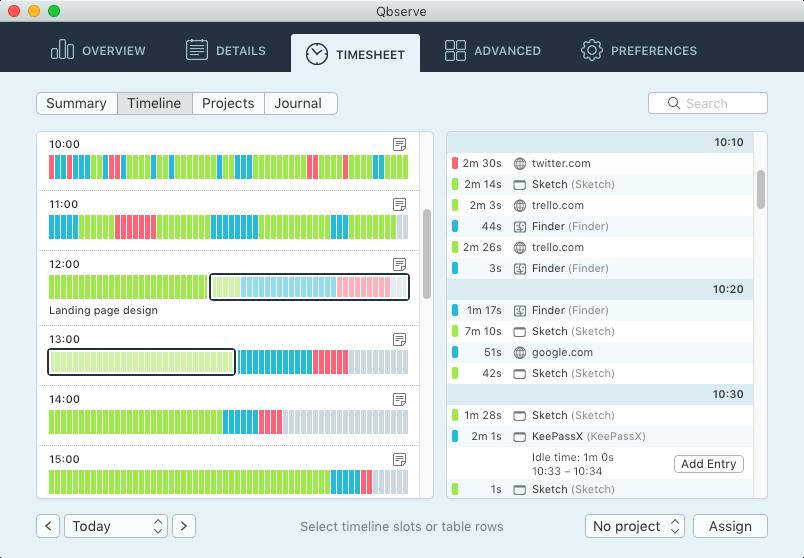 Qbserve time tracking app screenshot