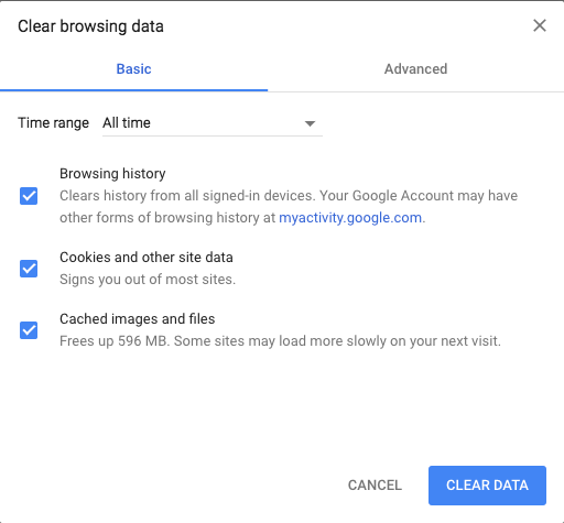 Clear browser cache in Google Chrome