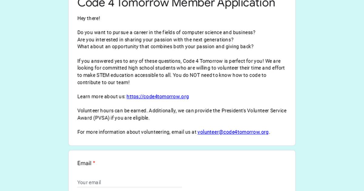 Code 4 Tomorrow Member Application Form