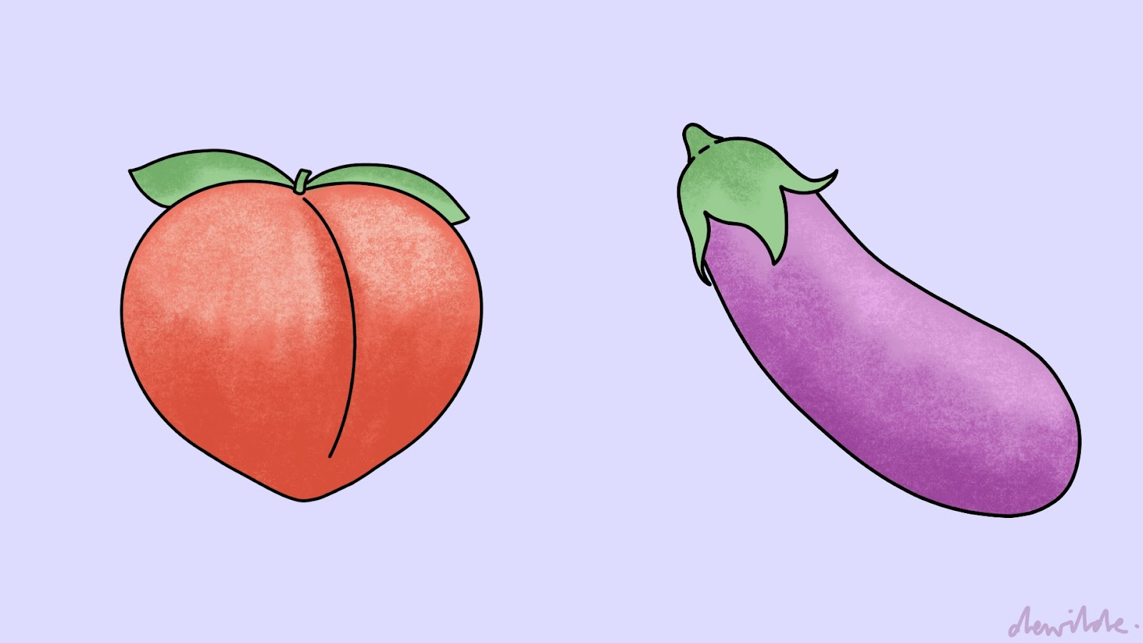 illustration by Darcy Rae of a peach and an egglant