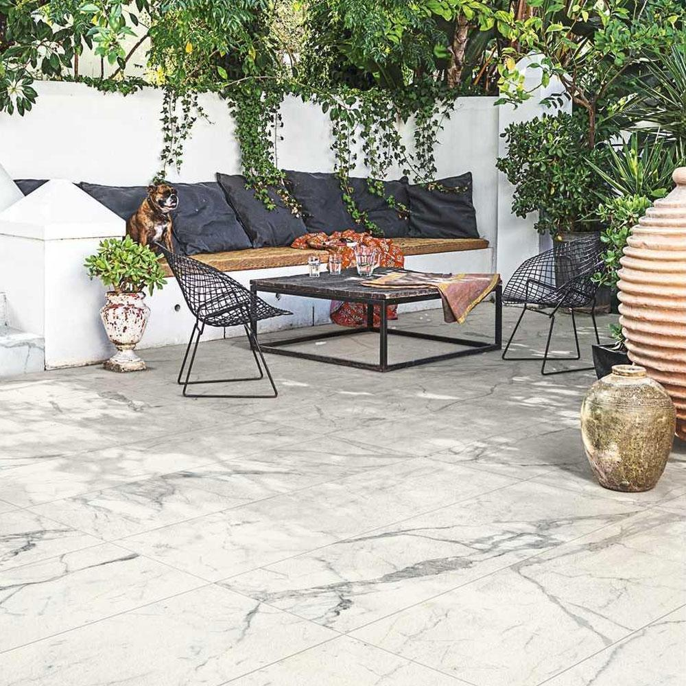 White Marble-Style Outdoor Tiles