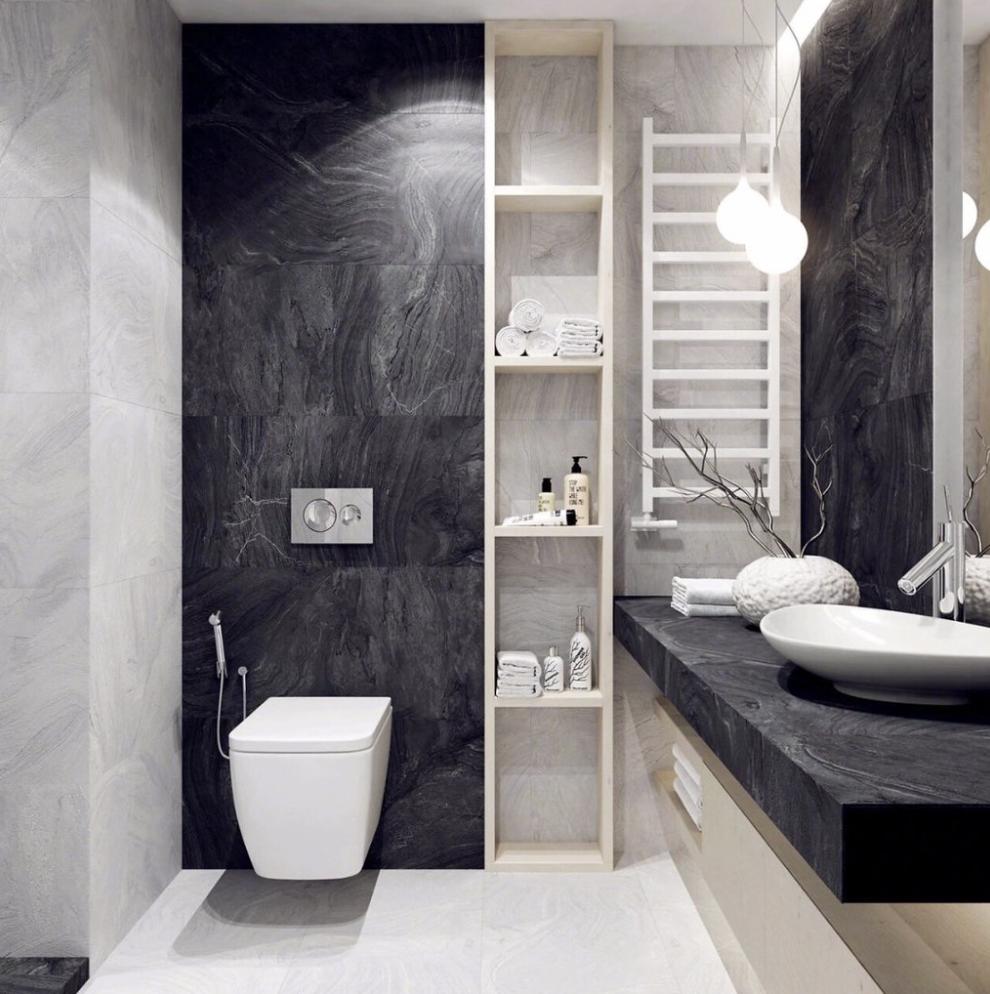 Gorgeous black and white bathroom with a dark colour scheme