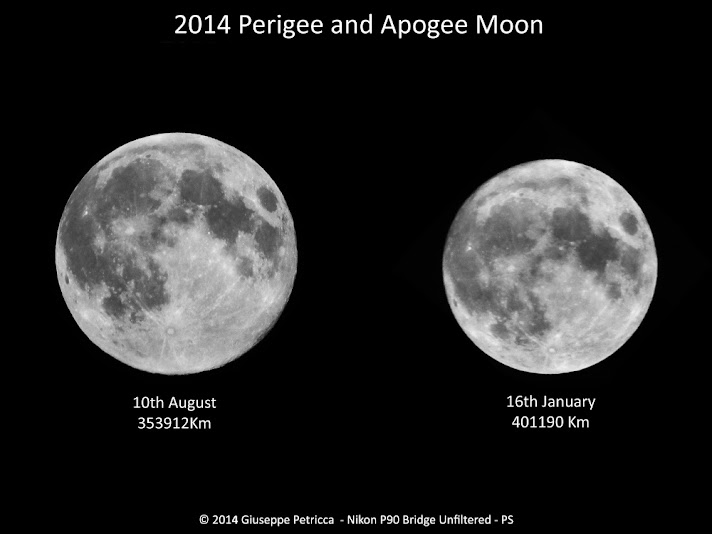Astrophotographer Giuseppe Petricca of Sulmona, Abruzzo, Italy photographed the biggest full moon of 2014 on Aug. 10, 2014 (a supermoon) and compared it to the smallest full moon of the year on Jan. 16, 2014, in this stunning view. Credit: Giuseppe Petricca