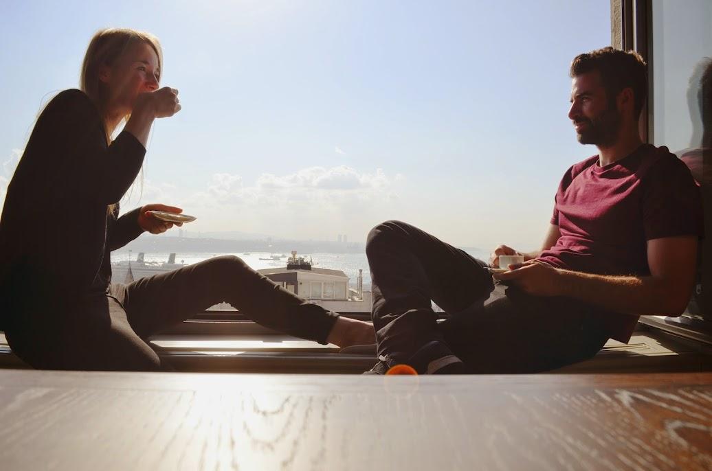 Eva and Gunes Drinking Coffee at XFlats