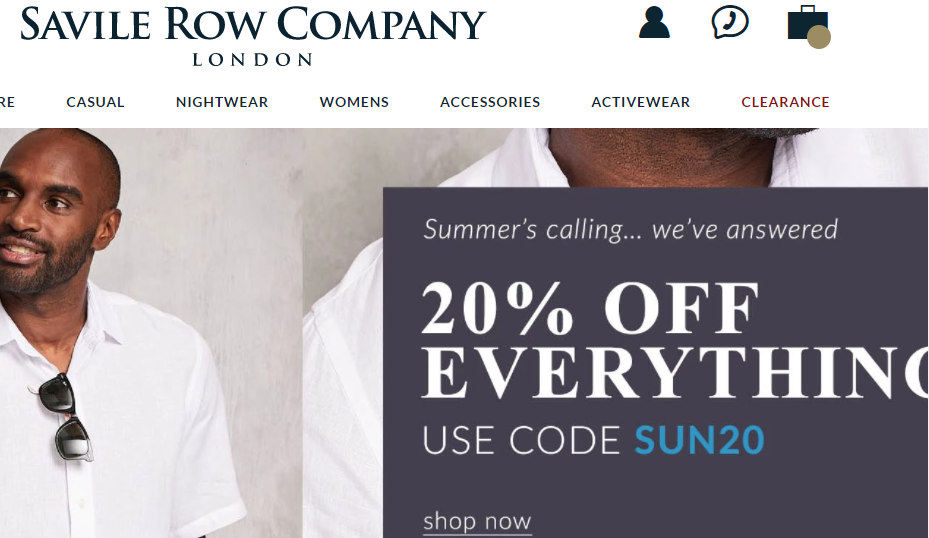 Savile Row Company Landing Page