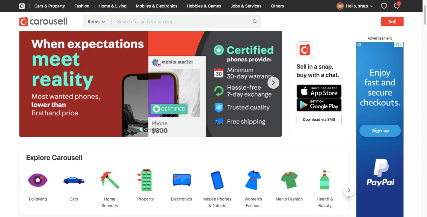 Carousell ecommerce website design