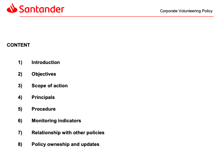 The image shows Santander's corporate giving policy.