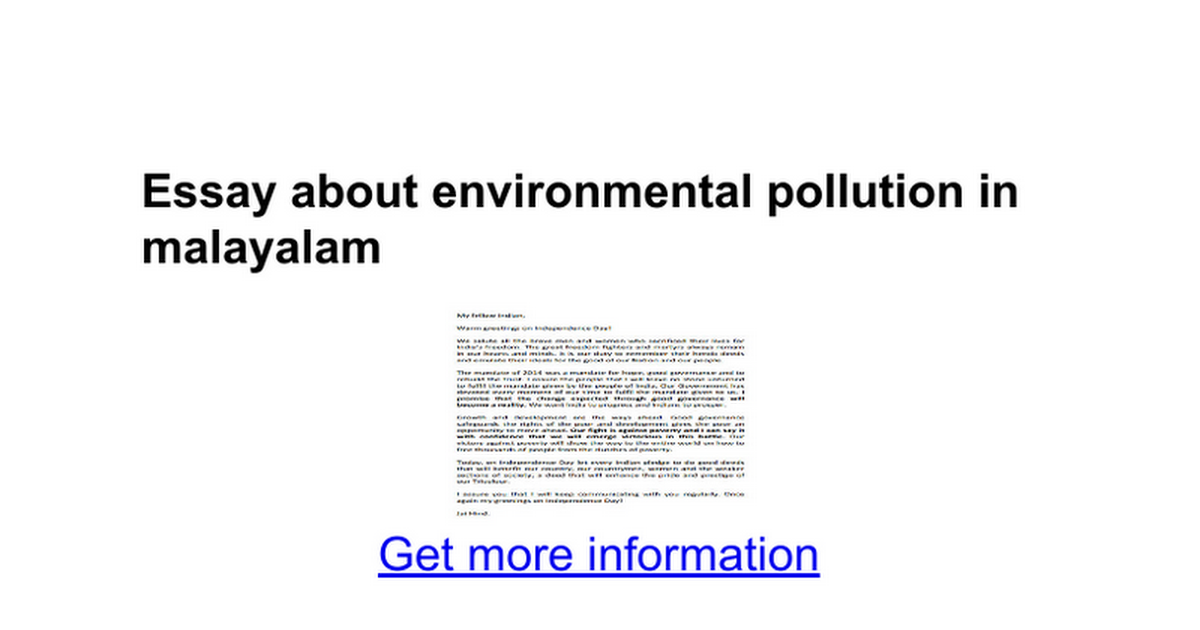 essay about environmental pollution in malayalam google docs