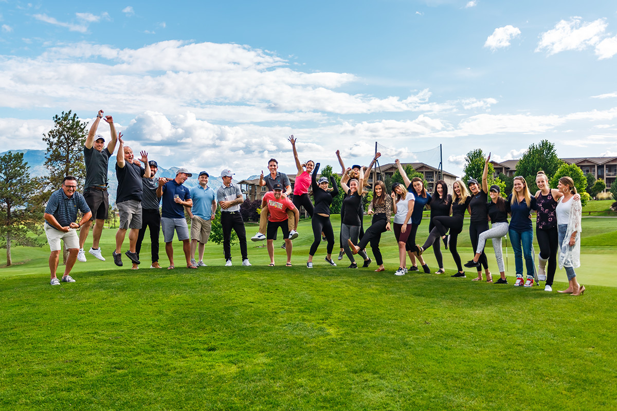 The Vantage West Realty team celebrating golf day on July 27th, 2020.