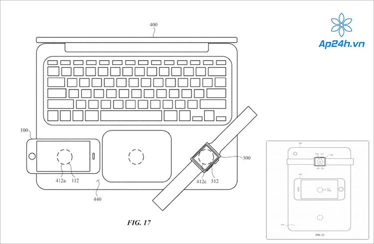 Bằng sáng chế đính kèm hình ảnh miêu tả về 1 chiếc iPad đang sạc iPhone và Apple Watch