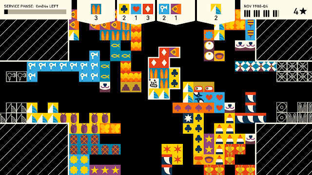 A screenshot from an 80's video game, featuring lots of squares with different pictures in them