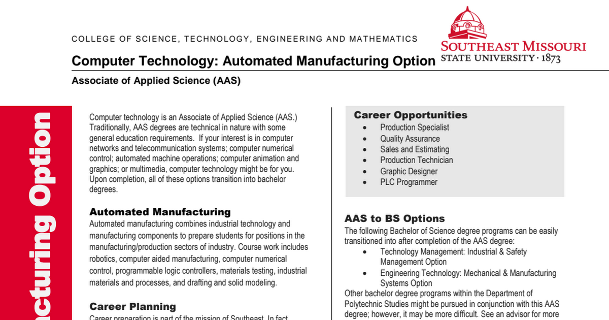 Computer Technology Automated Manufacturing Option SEMO pdf