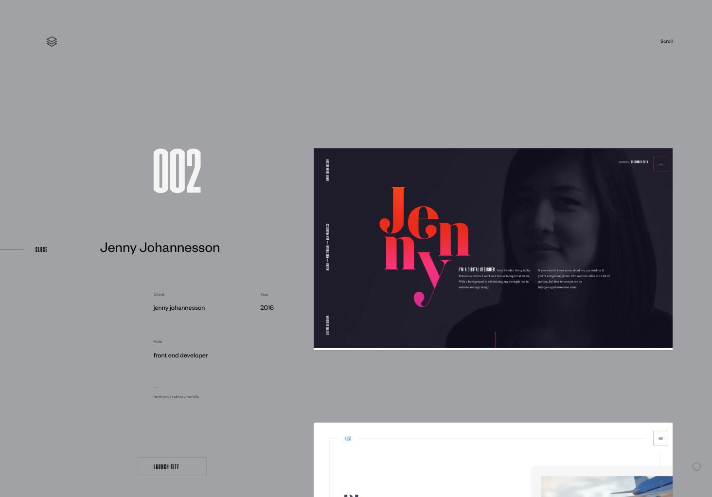 Portfolio en ligne digital designer Jenny Johannesson