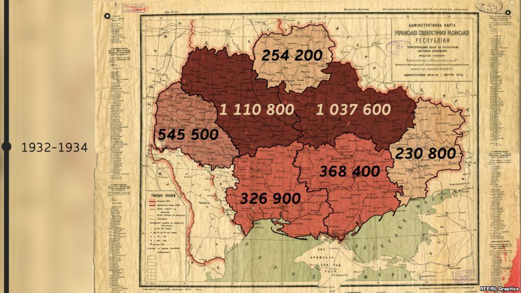 Втрати внаслідок Голодомору у різних областях України. Адміністративний поділ станом на 1 квітня 1933 року
