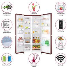 LG 687L GC-B247SVZV Wi-Fi Inverter Frost-Free side-by-side Refrigerator