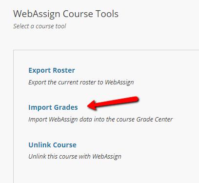 WebAssign Import Grades