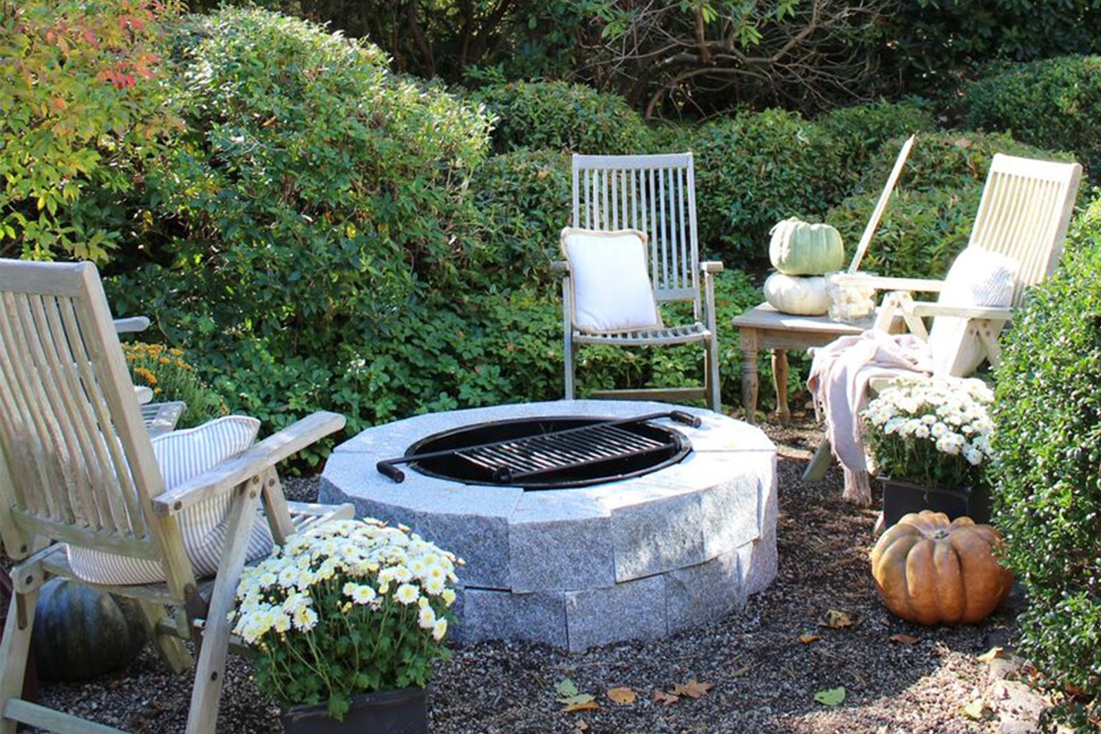 Woodbury Gray granite DIY fire pit in autumn