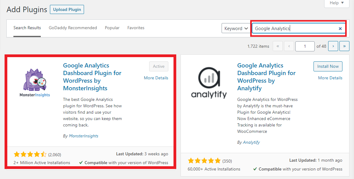 """Screen shot of the WordPress """"Add Plugins"""" page showing search results for """"Google Analytics"""""""
