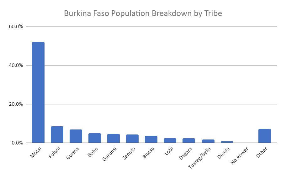 Bar Graph of Tribal Breakdown in Burkina Faso