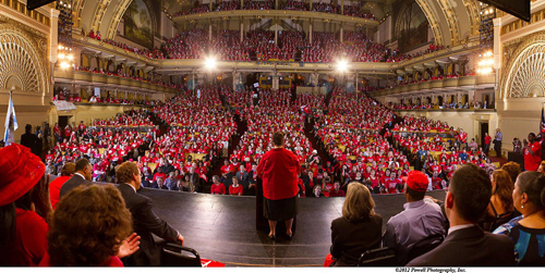 Karen Lewis, President of the Chicago Teachers' Union, addressing the CTU at the Chicago Auditorium Theater last fall