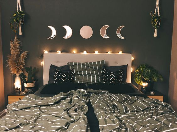 Set Moon Phase Mirrors Above Bed