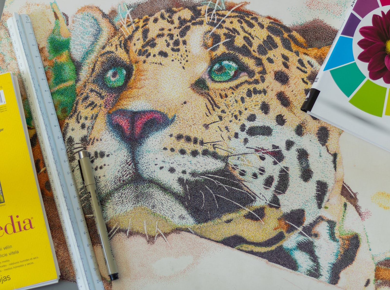 A picture of Ethan's drawing of a leopard. The spots are distinctively black, and the fur is peachy-orange. The leopard's eyes are bright green. Caption: Do something creative!