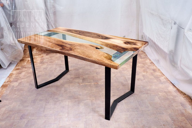 Wood Epoxy Dining Table with wood top