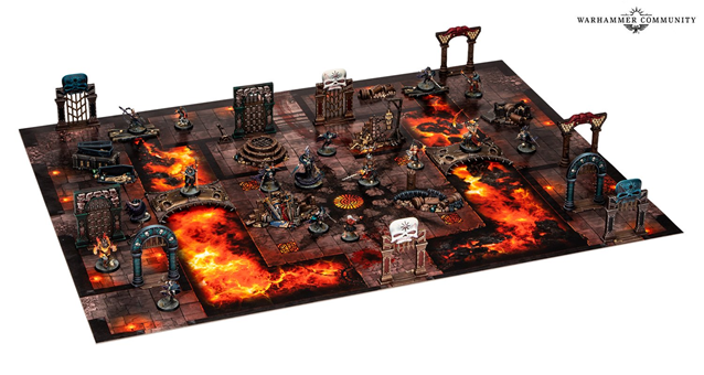 Warcry Catacombs set - a flat board with a bridge and lava pattern, with plastic doorway and arch scenery, and two opposing warbands.