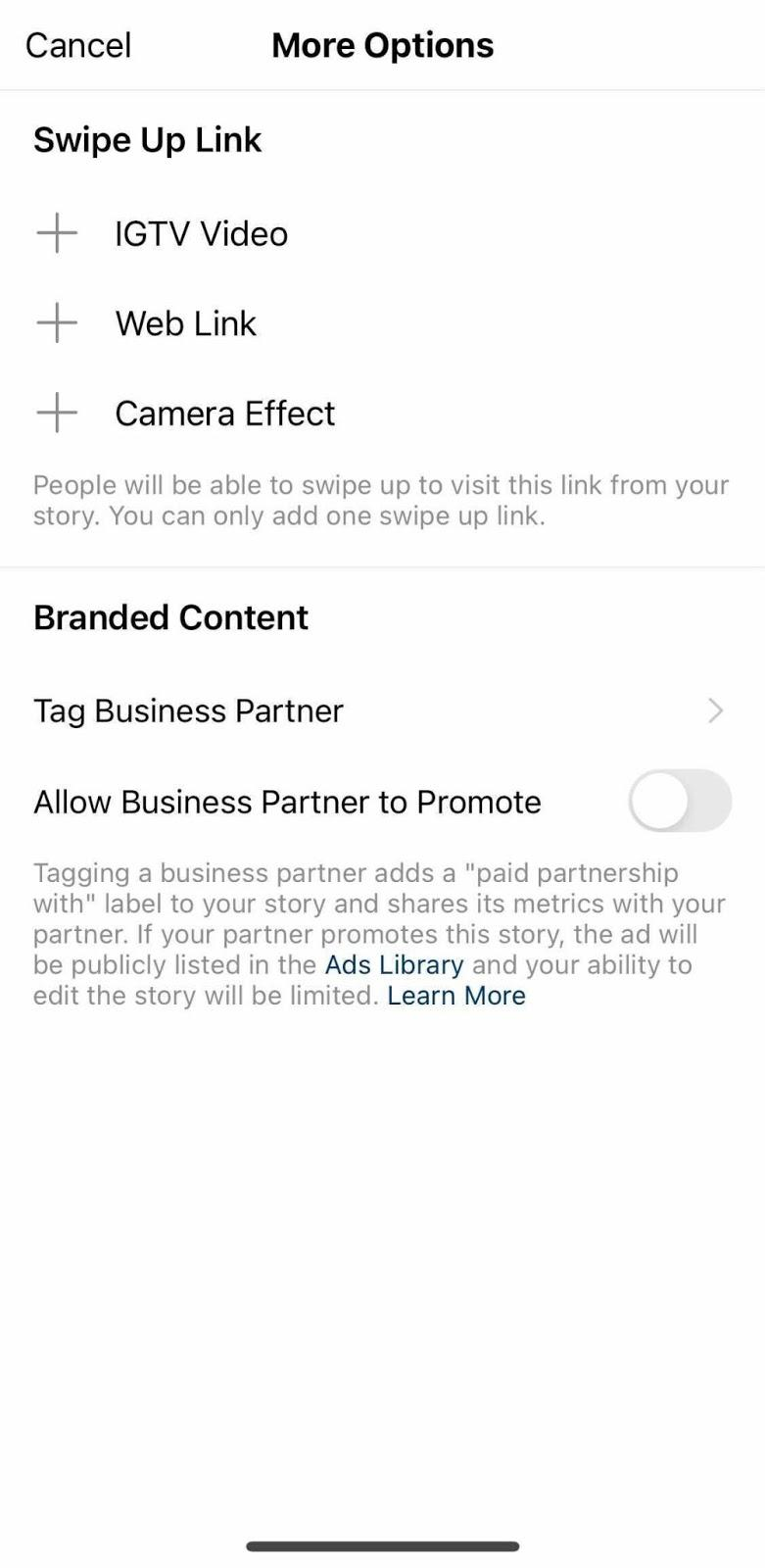 Screenshot of the Instagram ManyChat swipe up options