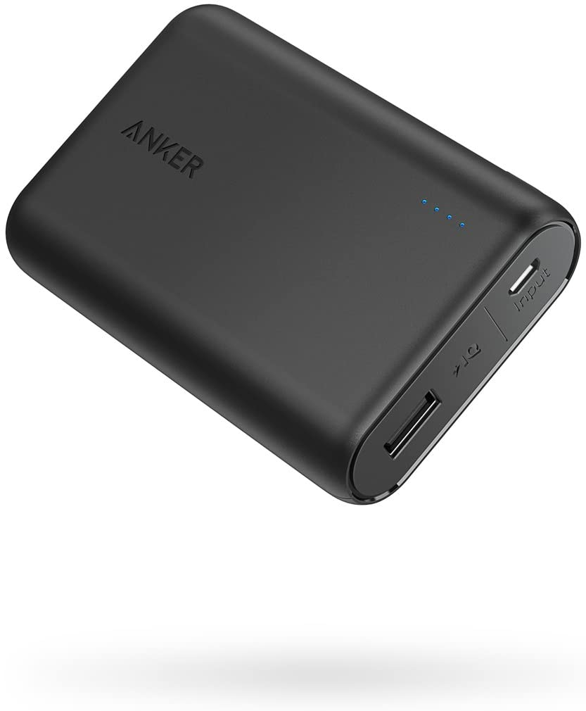 Black portable battery charger by Anker.
