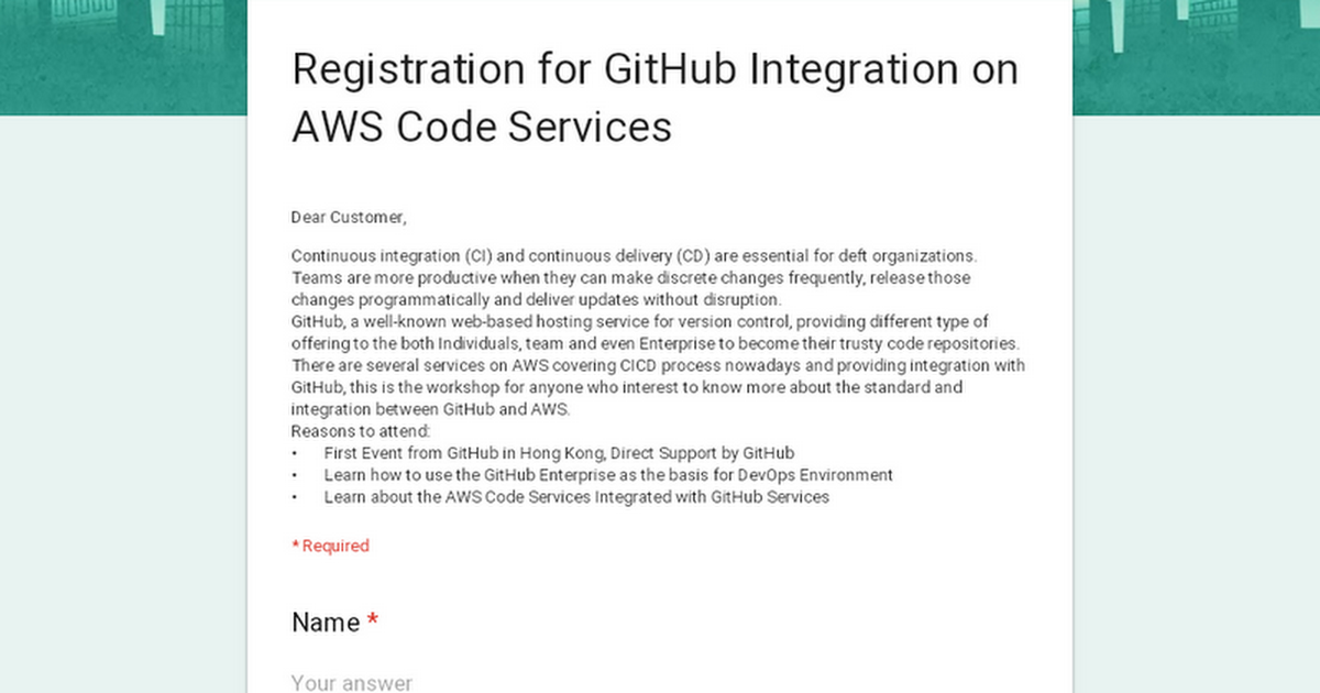 Registration for GitHub Integration on AWS Code Services