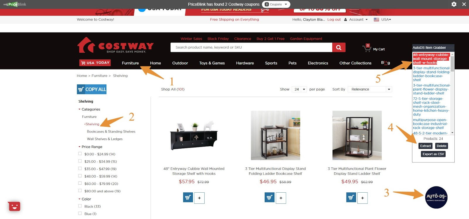 Dropshipping from Costway using AutoDS