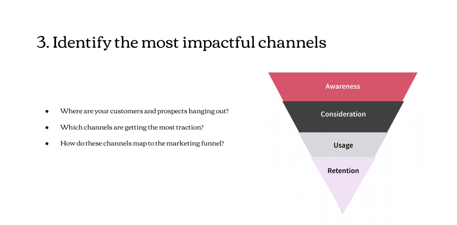 Graphic showing how to identify the most impactful channels: awareness, consideration, usage, retention