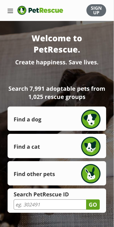 the mobile interface of www.petrescue.com.au