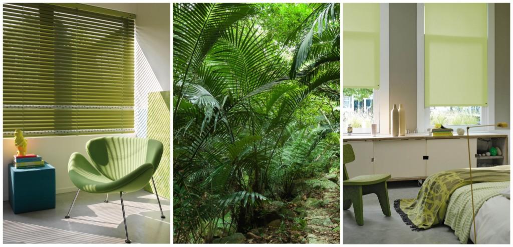 persianas venecianas de madera luxaflex verdes