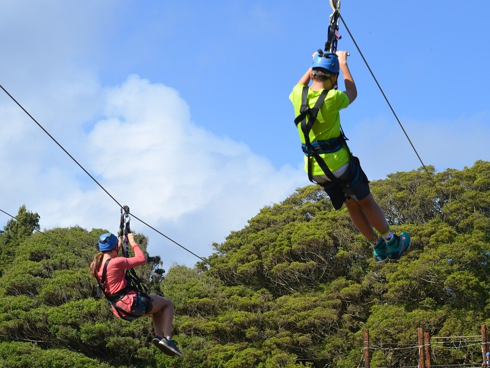 Adventurers riding a zipline through the trees.