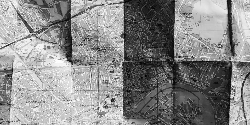 Worn out map of Rotterdam
