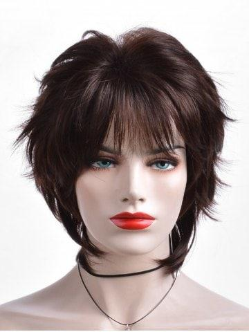 Short Inclined Fringe Layer Straight Heat Resistant Synthetic Wig