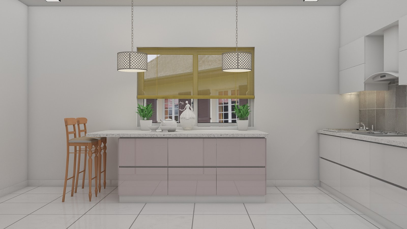 Island counter-top kitchen