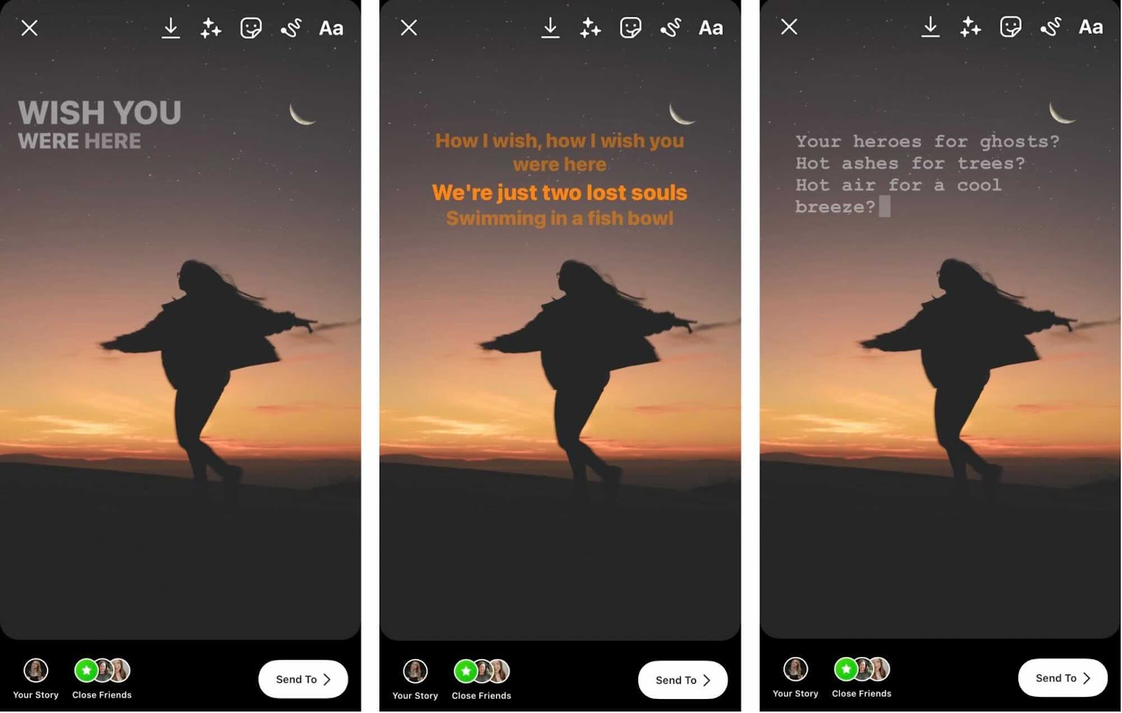 a view of different text options for Instagram music sticker lyrics